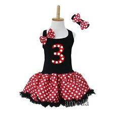Girl Black Polka Dots Minnie Mouse Number 3 Birthday Pettiskirt Tutu Party Dress