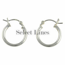 Sterling Silver 2mm Polished Hinged Round Hoop Earrings .925 Solid Jewelry