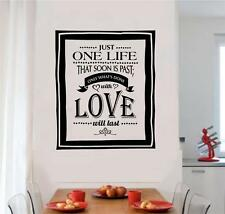 Just One Life Love Vinyl Decal Wall Art Stickers Letters Words Home Decor Gift