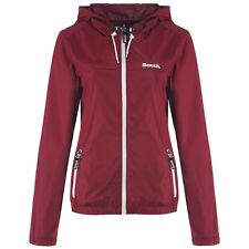 BENCH WOMENS RETRO CAG LIGHTWEIGHT HOODED JACKET Dark Red BNWT