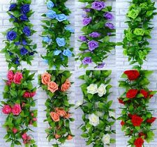 Fake Silk Rose Flower Ivy Vine Hanging Garland Wedding Home Decor Artificial Hot