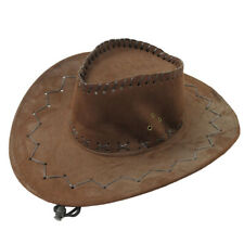 BROWN SUEDE COWBOY HAT SHERIFF WILD WEST STETSON FANCY DRESS COSTUME MENS STAG