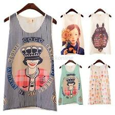 Summer Women Chiffon Cartoon Print Vest Tank Top T Shirt Sleeveless Shirt Blouse