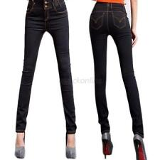 Lady Vintage High Waist Pencil Pants Denim Jeans Stretch Legging Button Trousers
