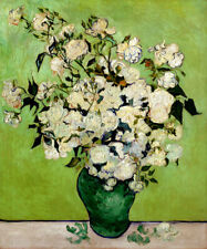 WHITE ROSES IN A VASE FLOWERS IMPRESSIONISM PAINTING BY VINCENT VAN GOGH REPRO