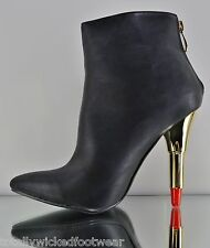 Kiss Me By Red Kiss Black Pointy Toe Ankle Boot With Lipstick Heel 6-11