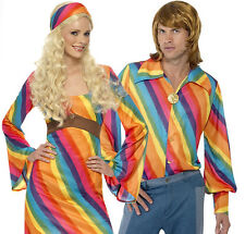 Rainbow Hippie 60s 70s Fancy Dress 1960s 1970s Hippy Adults Retro Costume New