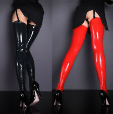 Fashion Red/Black Glam Rock Gothic Vinyl Wetlook PU Thigh-high Stockings@ps40123