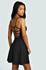 Boohoo Womens Ladies Faye Strappy Cage Back Detail Sleeveless Skater Dress