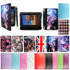 """Universal 7"""" Printed Leather Stand Cover Case For Various Android Tablets+Stylus"""