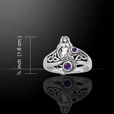 Charming Celtic MERMAID Sterling Silver Ring with Choice of Gemstone