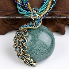 Women Vintage Elegant Millet Chain Crystal Beauty Bib Peacock Pendant Necklace