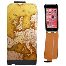 Close Up Of Europe On Globe Leather Flip Case for Apple iPhone 5C