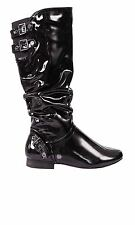 Hidden Fashion Womens Faux Patent Leather Flat Calf High Riding Winter Boots