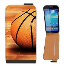 Basketball Sat On Wooden Court Floor Leather Flip Case for Samsung S4