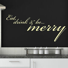 Kitchen Wall Sticker Dining Cafe Pub Bar Quote -  Eat Drink & Be Merry Decal Art