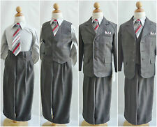 Toddler Teen Boy charcoal/dark grey formal suit set wedding party graduation set