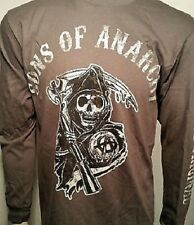 Sons Of Anarchy Soa Grim Reaper Logo Charcoal L/S Long Sleeve Shirt Size S-3Xl