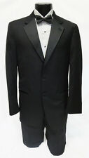 44R Mens Black Joseph Abboud Super 120 Wool 2 Button Notch Tuxedo Jacket Package
