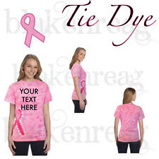 Tie Dye BREAST CANCER AWARENESS Ladies T-Shirt - PINK - PERSONALIZE RIBBON SHIRT