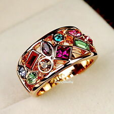 18k Rose Gold Plate Multicolor Swarovski Crystal Women's Cocktail Wrap Ring R195