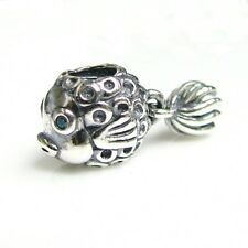 .925 Sterling Silver Lovely 3-d Goldfish Dangle Bead for European Charm Bracelet
