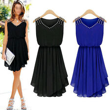 New Fashion Women Sleeveless Chiffon Party Cocktail Pleated Casual Mini Dress