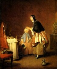 THE MORNING TOILETTE MOTHER DAUGHTER PIN 1741 FRENCH PAINTING BY CHARDIN REPRO