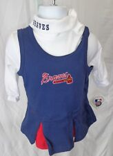 Atlanta Braves Baseball Girls Infant Logo Turtleneck Onesie Cheer Outfit