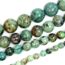 """Natural Blue Africa Turquoise Round Gemstone Beads 15.5"""" 4 6 8 10mm"""