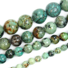 "Natural Blue Africa Turquoise Round Gemstone Beads 15.5"" 4 6 8 10mm"
