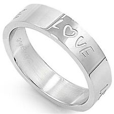 Stainless Steel Elegant Romantic Love Script Valentine's Day Band Ring Size 5-14