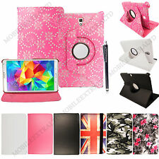 For Samsung Galaxy Tablets Printed PU Leather Media Stand 360° Case Cover+Stylus
