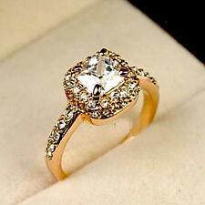 Elegant Jewelry Gold Filled  Crystal Engagement Wedding Party Ring