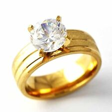 Bright Single CZ Yellow Gold Filled Womens Wedding Ring SZ 6-9# D2032-D2035