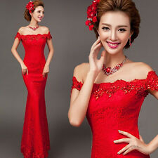 Red Off Shoulder Lace Long Evening Prom Wedding Mermaid Dress Ball Gown Diamante