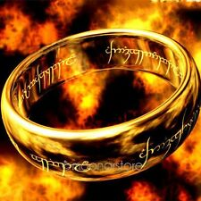 Stylish Women Lord of the Rings Stainless Steel Men Band Ring Unisex Gold Plated