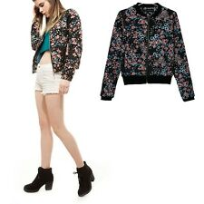 New Womens Winter Round Neck Floral Print Quilted Bomber Jacket Black Sz S M L