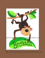 PERSONALIZED MONKEY PICTURES WALL ART DECOR BOYS ROOM BABY NURSERY PRINT POSTER