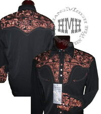 P-634ds Black Scully Western Cowboy Snap Shirt Gun Fighter Embroidery Retro