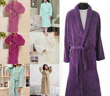 HOT Women Lady Loose Long Sleepwear Robes Shawl Collar Coral Fleece Bathrobe Spa