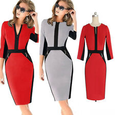 Womens Colorblock Zip Tunic Business Work Party Cocktail Pencil Sheath Dress