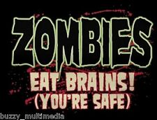 Zombies Eat Brains! (You're Safe), Zombie Shirts, Funny Halloween T-Shirts