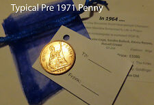 Lucky Coin (Penny Threepence Farthing or Halfpenny) & chosen Year Facts Gift Set