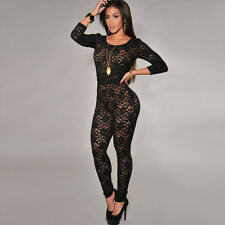 Fashion New Women Pretty Slim fit hollow Casual Mesh style black sexy jumpsuit