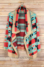 CORAL AQUA BLUE Taupe Black TRIBAL CARDIGAN Aztec Print Sweater Thick New S M L