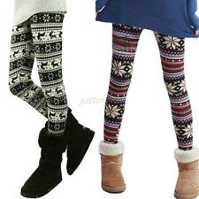 Vintage Women Knitted Snowflake Pants Skinny Leggings Autumn Tight Winter New