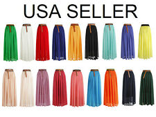 USA  Womens Chiffon Elastic Waist Bust Skirt Pleated Retro Maxi Long Dress New