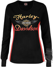 Harley-Davidson Womens Synthetic COOL BASE Black & Coral Long Sleeve T-Shirt