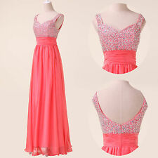 CHEAP 2014 Long Prom Chiffon Formal Party Backless Pageant Dresses Wedding Gowns